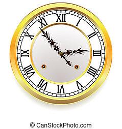 Un reloj de oro. Estilo retro