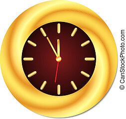 Un reloj de oro. Medianoche, mediodía. Aislado, ilustración vectora