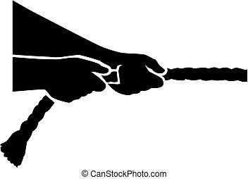 Un remolcador de guerra, manos tirando de la cuerda