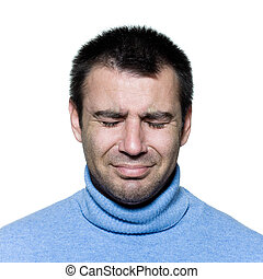Un retrato de hombre llorando depresión triste