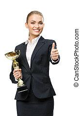 Un retrato de mujer de negocios con una taza