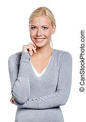 Un retrato de mujer sonriente