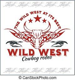 Un rodeo de vaqueros. El emblema del vector.