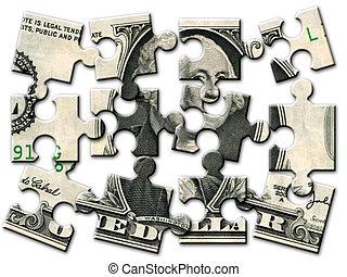 Un rompecabezas de billetes de un dólar