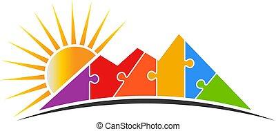 Un rompecabezas de montaña con ilustración vectorial del logo solar
