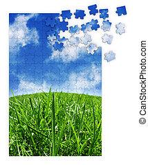 Un rompecabezas verde y azul