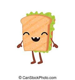Un sándwich gracioso con cara sonriente, una linda caricatura de caricatura rápida vector de caracteres de ilustración en un fondo blanco
