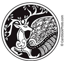 Un símbolo astronómico druida de un ciervo