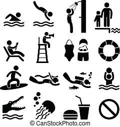 Un símbolo de la piscina de playa marina