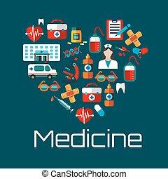 Un símbolo del corazón sano con íconos de los servicios médicos