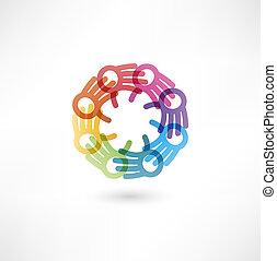 Un símbolo del equipo. Manos multicolores