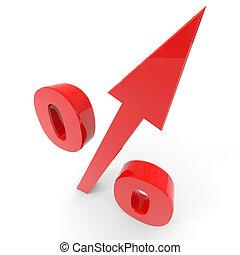 Un símbolo del porcentaje rojo con una flecha.