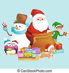 Un saco de Santa Claus lleno de regalos, caramelos de muñeco de nieve, cintas de decoración perro de decoración en sombrero con presentaciones en trineo, pingüinos ilustración elfo Vector Feliz Navidad y Feliz Año Nuevo