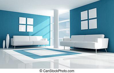 Un salón moderno azul