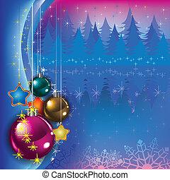 Un saludo abstracto con decoración navideña