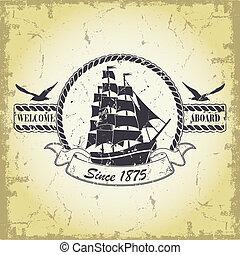 Un sello con un tema náutico
