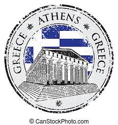 Un sello de goma azul grunge con forma de Partenón de Grecia y el nombre Grecia escrito dentro del sello