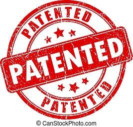 Un sello de goma con patente