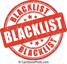 Un sello de goma de la lista negra