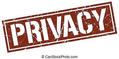 Un sello de grunge cuadrado de privacidad