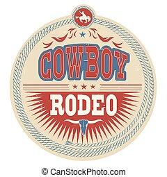 Un sello de rodeo de Wild West con texto de vaquero y decoración occidental