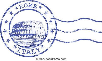 Un sello irregular con un coliseo rom