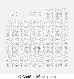 Un set de 170 íconos universales de delgada línea moderna para web y móvil