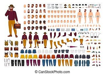 Un set de constructor gordo o robusto. Un montón de caricaturas planas partes del cuerpo en varias posturas, ropa elegante aislada en el fondo blanco. Frente, lado, atrás. Ilustración de vectores.