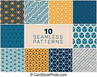 Un set de diez vectores sin costura de mano dibujados patrones geométricos en azul marino y amarillo