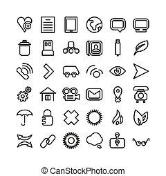 Un set de icono de línea web. Pequeños iconos