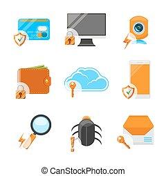 Un set de icono de la red de seguridad