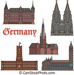 Un set de icono de viaje arquitectónico alemán