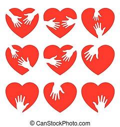 Un set de icono del corazón con manos atentas