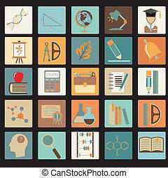 Un set de icono plano de la escuela de educación