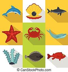 Un set de iconos habitantes del océano, estilo plano