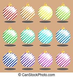 Un set de vector de juguetes de Navidad multicolor
