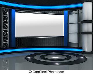 Un set virtual de televisión de 3D