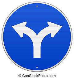 Un signo azul con dos flechas