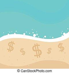 Un signo de dólar en la playa de arena