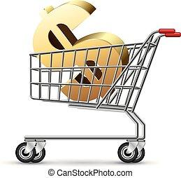 Un signo de dólar en un carro de compras, aislado en fondo blanco.