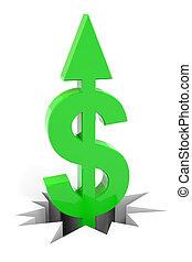 Un signo de dólar verde con flechas en el suelo.