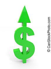 Un signo de dólar verde con flechas en la superficie blanca.