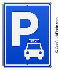 Un signo de estacionamiento azul