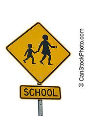 Un signo de zona escolar aislado en blanco