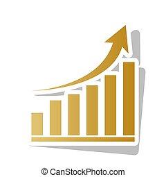 Un signo gráfico creciente. Vector. Un icono de graduación dorado con un punto blanco