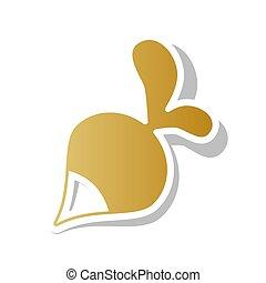 Un signo radical simple. Vector. Un icono de graduación dorado con un punto blanco