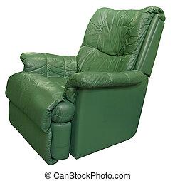 Un sillón de cuero verde