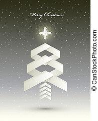 Un simple árbol de Navidad hecho con rayas de papel