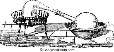 Un simple aparato de destilación, grabado antiguo