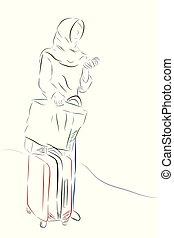 Un simple boceto de hijab viajero